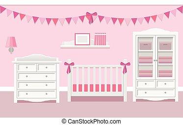 Interior of baby room. Vector illustration.
