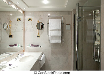 Interior of bathroom with mirror