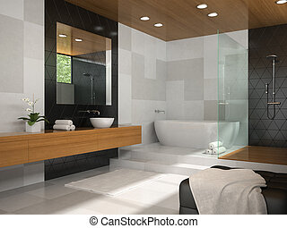 Interior of bathroom with wooden ceiling 3D rendering 4 -...