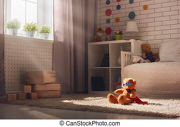 Interior of bedroom for child.