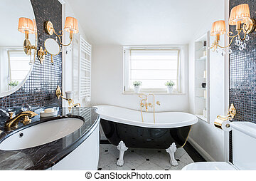 Interior of black and white bathroom