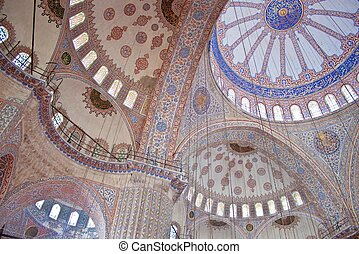 Interior of Blue mosque in Istanbul