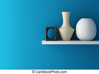 Interior of blue wall and ceramic on shelf decorated, 3d rendering