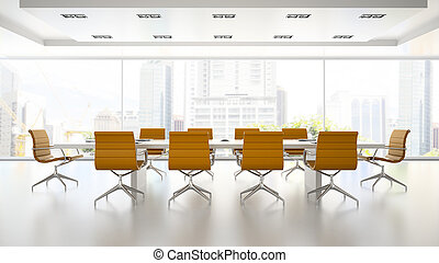 Interior of boardroom with orange armchairs 3D rendering 2