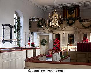 WILLIAMSBURG, VIRGINIA - DECEMBER 29: Interior of the Bruton Parish Church on December 29, 2011. This Episcopal church was first established in Williamsburg in 1674