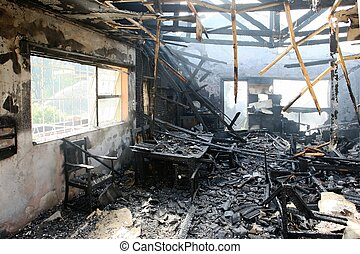 Interior of Burnt Home - Burnt out house with charred roof...
