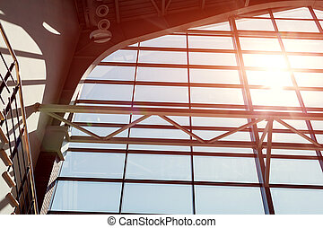 Interior of business center. Modern buildings. Window design. Light and shadow