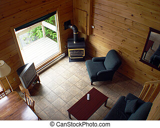 Interior of Cabin look down from top floor