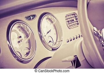 Interior of car in retro style