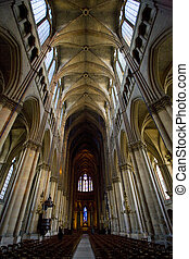 interior of Cathedral Notre Dame, Reims, Champagne, France