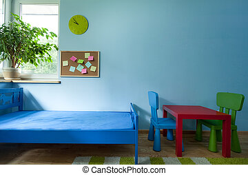 Horizontal view of interior of child room
