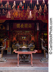 Interior of Chinese temple in Vietnam