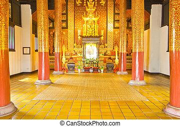 Interior of church,Wat J-D-Luang,Chiang Mai,Thailand