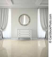 Interior of classic room with round mirror and cabinet 3D render