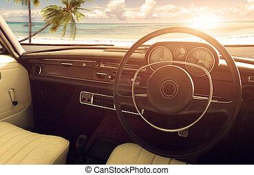 Interior of classic vintage car