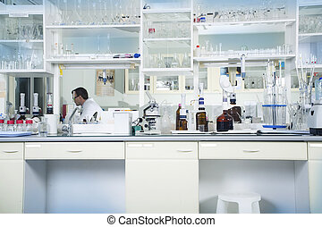 Interior of clean modern white laboratory background....
