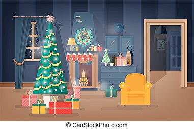 Interior of comfy living room decorated for Christmas Eve with fir tree, beautiful garlands and wreaths. Apartment full of cozy furniture and holiday home decorations. Flat vector illustration.