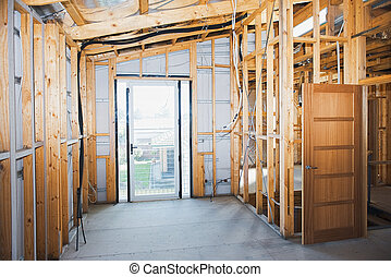 Interior view construction new residential home.
