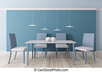 Interior of dining room 3d - Modern blue dining room ...