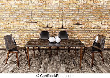 Interior of dining room 3d - Modern dining room interior 3d ...