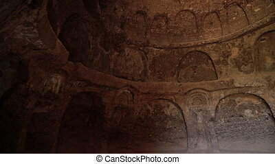 Interior of dome ceiling of grotto with arches and designs...