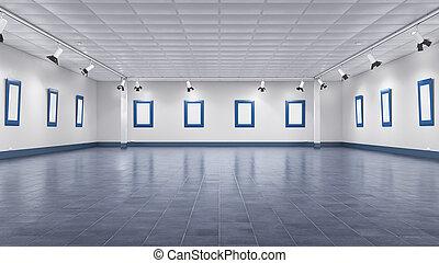 Interior of empty gallery. 3d illustration