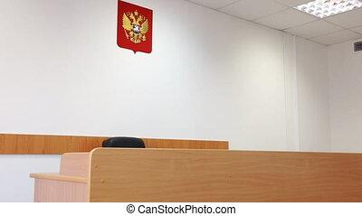 Interior of empty Russian court room