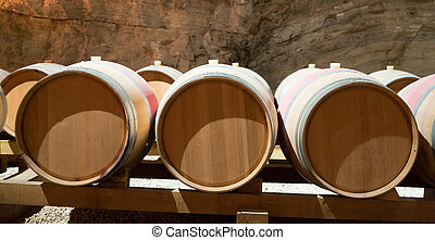french winery with  wooden barrels