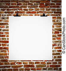Interior of grunge empty room with empty board hanging on brick wall