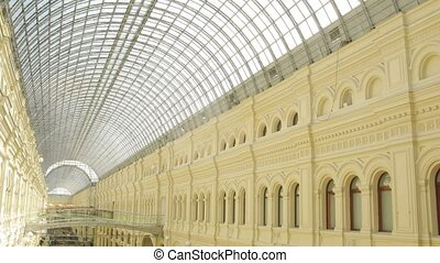 Interior of GUM center in Moscow, Russia.