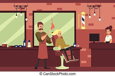 Interior of hair care salon with barber shop characters a vector illustration