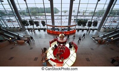 Interior of hall of airport Domodedovo in Moscow, Russia.