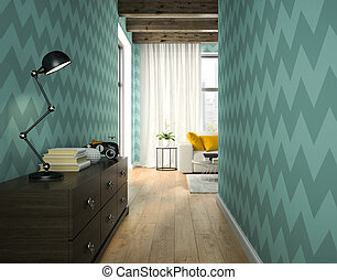 Interior of hallway with blue wallpaper 3D rendering
