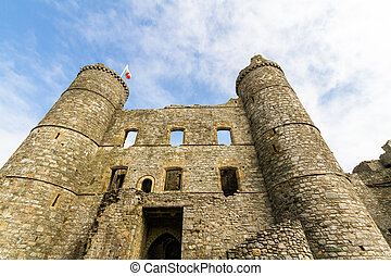 Interior of Harlech Castle with towers and gatehouse