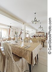 Interior of hotel restaurant