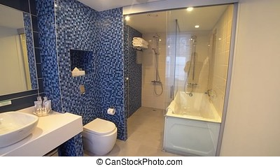 Interior of hotel room, bathroom,