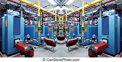 Interior of independent boiler room - Interior of ...