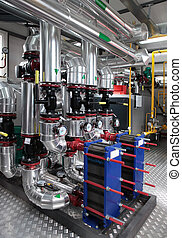 modern gas boiler room - Interior of independent modern gas...