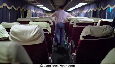 Interior of intercity long distance coach passengers...