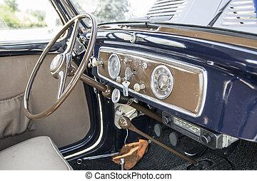 interior of italian vintage car