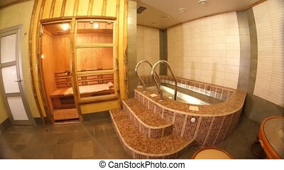 Interior of Japanese sauna - Interior of Japanese wooden...