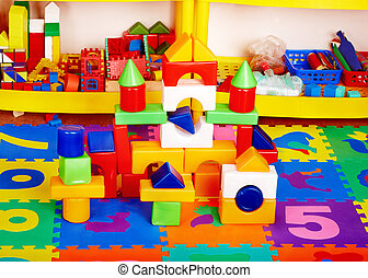 Interior of kindergarten with toy.
