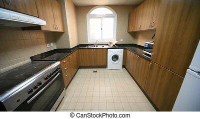 interior of kitchen, verticall panning