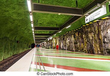 Interior of Kungstradgarden metro station of Stockholm, Sweden