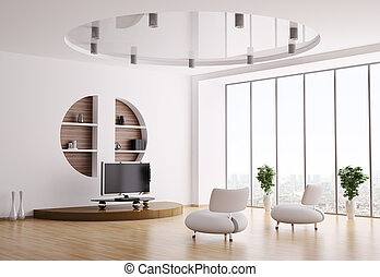 Interior of living room 3d - Interior of living room with...