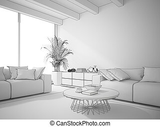 Interior of living room draw 3D rendering