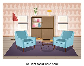 Interior of living room furnished in retro style. Old...