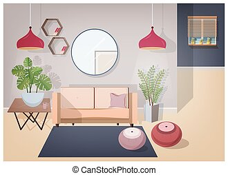 Interior of living room furnished with stylish comfortable furniture and home decorations - cozy sofa, coffee table, house plants, lamps, mirror, carpet and poufs. Vector illustration in flat style.