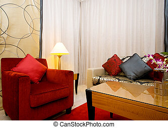 Interior of living room in the dark
