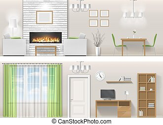 Interior of living room with fireplace, furniture